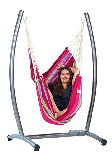 AMAZONAS Omega Set Grenadine Komplett-Set aus Hängesessel inkl. Gestell bis für Wohnzimmer und Garten 150 kg buntgestreift