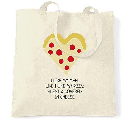 Mi Piace Il Mio Men Sacchetto Di Tote Come mi piace la mia pizza divertente alimentare San Valentino Slogan Natural