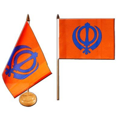 Tischflagge / Tischfahne Sikhismus + gratis Aufkleber, Flaggenfritze®