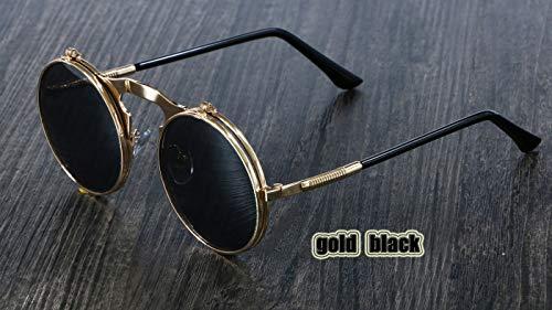 MOMOQU Sonnenbrille Steampunk Sonnenbrille Round Metal Damen Style Retro Flip Circular Double Metal Sonnenbrille Herren Circle Sonnenbrille , Gold Schwarz