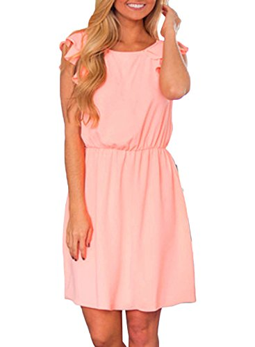 ACHICGIRL Women's Solid Color Elastic Waist Ruffle Sleeve Dress Pink
