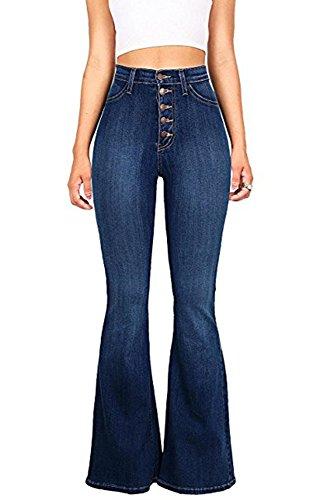 Outgobuy Damenmode Casual Schmeichelhaft Ausgestellte Jeans Sexy Kick Flare Bootcut Hosen (Large, Marine) (Hose Ausgestellte Jean)