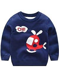 Weentop Chicos de Dibujos Animados para niños Suéter de Punto Bebé Algodón  de Manga Larga Cuello e5721c780fc7