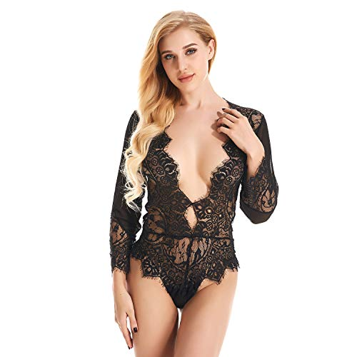 COUXILY Damen Dessous Spitze Teddy Features Tiefer Wimpern und Snaps Crotch (Schwarz, XL) Features Snap