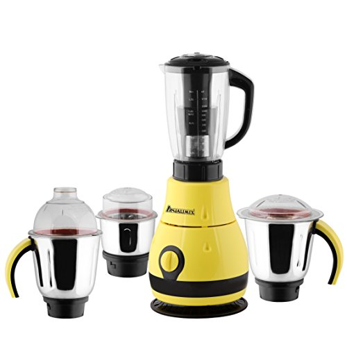 ANJALIMIX Juicer Mixer Grinder DESIGNO 1000 WATTS With 4 Jars (Yellow & Black), DRY, WET, CHUTNEY, FILTER JUICER