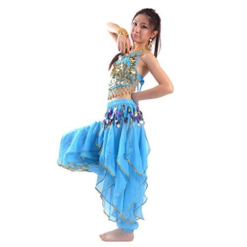 Best Dance Damen Bauchtanz Kostüm-Set Top & Tribal Gold gewellt Harem Hose Rock