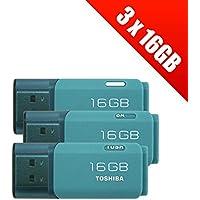 3x Toshiba TransMemory U20216GB USB 2.0Flash Drive–Aqua (3x thn-u202l0080e4)