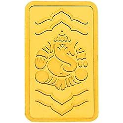 Kundan 2 gm, 24k(999.9) Yellow Gold Ganeshji Precious Coin