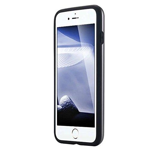 iPhone 7 Coque, Lantier [Card Slot Wallet Series] Housse de protection double couche Armure hybride robuste en plastique dur Shell flexible TPU Shock-Absorption pour iPhone 7 (4,7 pouces) Cyan Grey