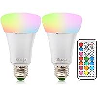 E27 RGBW Bombillas 10W LED Múltiples Colores Regulable Cambia l\'arredo per l\'illuminazione di Home Bar Party KTV AC 85-265V(2 piezas Bombilla E27 + 1 control remoto)