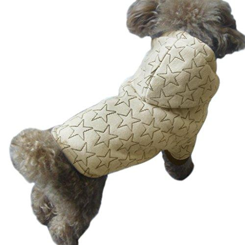 FakeFace Hundemantel Hundejacke aus Baumwolle Sterne Motiv Hundepullover mit Kapuze Hunde Winter Herbst warme Hundebekleidung Hunde Kostüm Kleidung- Gr. L, (Halloween Kostüm In Mops)
