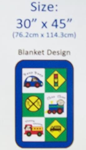 Fun Little Frames Beep Choo Vroom Baby Boy's Thick Plush Blanket With Car Train & Firetruck by SL Baby Collection