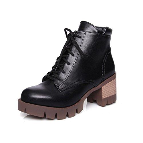 ZQ@QX In autunno e in inverno, testa tonda impermeabile dello spessore di Taiwan con scarpe con i tacchi alti di moda, il Presidente Martin stivali un gran numero di scarpe da donna black