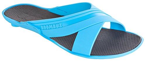 Boombuz Yuma swimsuit 100% nature, biodigradable, biologisch abbaubar, vegan 111-1-..., Damen Sandalen Badeschuhe Badeschlappen hellblau-schwarz