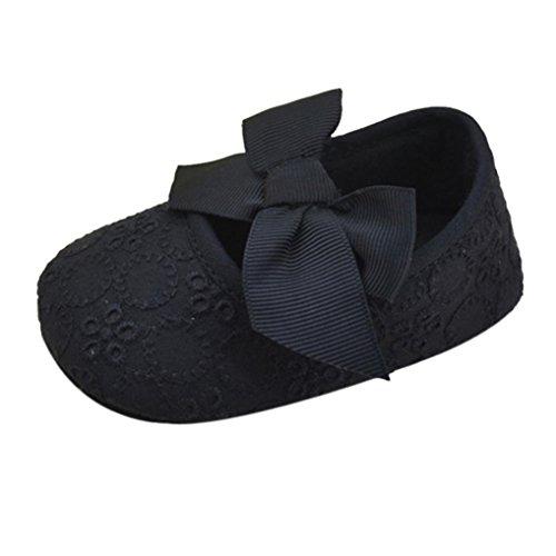 Ouneed® Krabbelschuhe , Mädchen Baumwoll Bandbowknot weiche Unterseite Blume Prewalker Schwarz