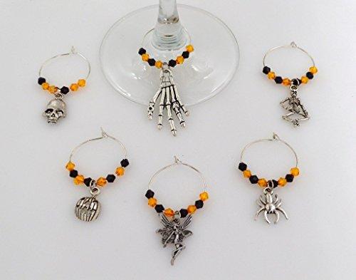 Hallows Kostüm Eve - Halloween Wein Glas Charms mit Orange und Schwarz Beads-6Stück Cocktail Drink Charm Set in schwarz Velours Geschenk Tasche