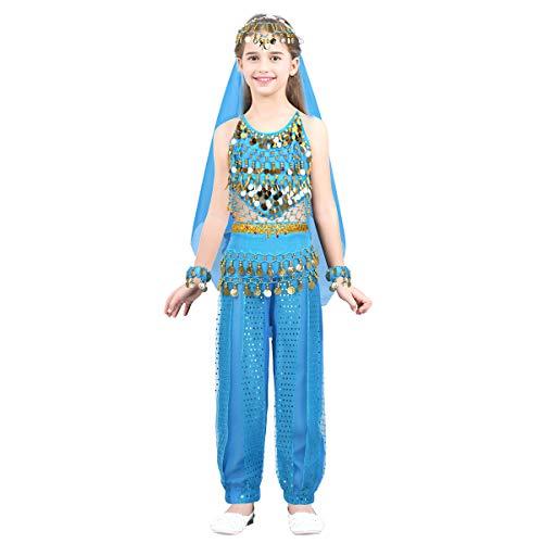 Kleinkind Kostüm Mädchen Indische - dPois Mädchen Bauchtanz Kostüm Tanzkleidung Indianer Kostüm Kleinkind Bekleidungsset Dancewear Gymnastikanzug Cosplay Party Gr.104-140 in Blau Rot Rose Gelb Hellblau 122-128/7-8 Jahre