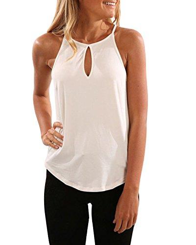 CNFIO Oberteil Damen Top Sommer Ärmellos Oberteile Tank Tunika Crop Basic Schlinge T-Shirt Blusen A-weiß EU40 / M -