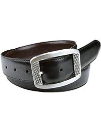 Truth-Gemini Men's Reversible (Black/Brown) Vegan Belt - 38 inches
