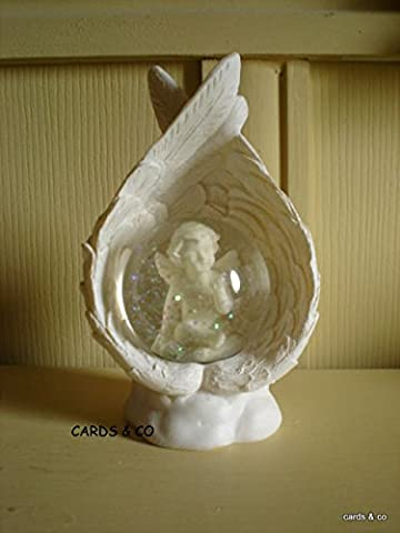 Blowing Kisses Cherub Waterball ~ (Snowglobe) In Angel Wings New