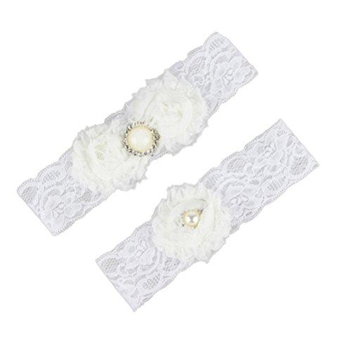 Tinksky Strumpfband Braut Accessoire elastischem Strumpf Band mit Blumen für Hochzeit Party Damen 2 Stück (Taufkleider Andenken)
