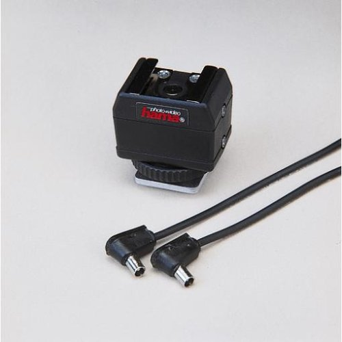 Hama Blitzadapter für analoge Kameras, Mit Synchronkabel, Universal, Schwarz (Hot-shoe-sync-adapter)