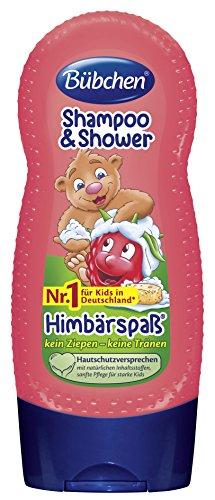 Bübchen Shampoo und Duschgel Himbeerspaß, Kinder-Shampoo und -duschgel (pH-hautneutrale Waschlotion für sanfte Kinderhaut, mit Himbeer-Duft) 4 x 230 ml