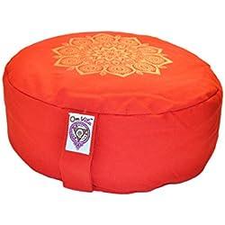 New Om Vita 100% Organic Zafu cojín de meditación con diseño de Mandala (rojo)