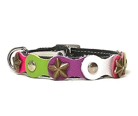 Leder Katzen-halsband mit Elastisch Sicherheitsverschluss | Fröhliches und Farbiges Leder Leder Katzen-halsband Leder