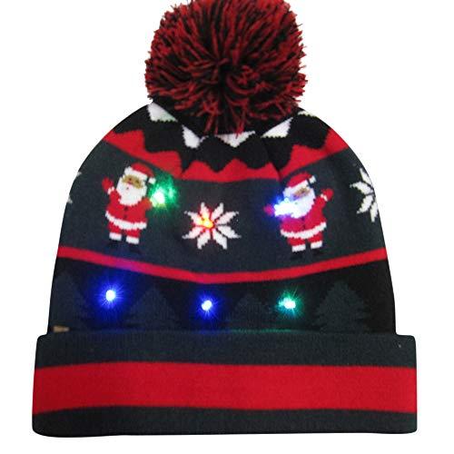 BESSKY Colorful Christmas LED Light-up Hat Knitted Ugly Sweater Holiday Cap LED Festive Cap Fiber Optic Glühen Christmas Hut (Hat Light Up)