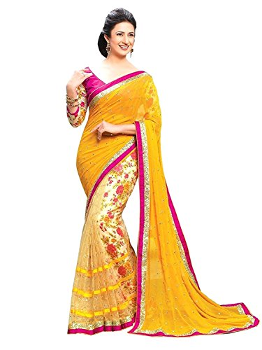 Kjp Villa Women\'s Georgette & Net Yellow Free Size embroidery Saree With Blouse Pics (zeel saree-238)
