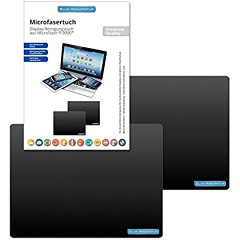 """Blum - 2x Paños de microfibra 24x18 cm de color negro - Perfecta protecciones de pantalla y para la limpieza perfecta de MacBook - MacBook Air 11"""" etc."""