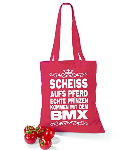 Artdiktat Baumwolltasche Scheiß auf´s Pferd - Echte Prinzen kommen mit dem BMX yellow cranberry