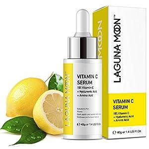 Lagunamoon Suero Facial con Vitamina C y Ácido Hialurónico, Sérum Facial Anti-arrugas, Anti Manchas, Antienvejecimiento 40g