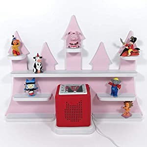 Tonie Board, Schloß in rosa mit weißen Regalen, ideale Aufbewahrung für Tonie Box und Tonie Figuren, Kinderzimmer Regal, Deko Board, Musikboxaufbewahrung, Hängeregal