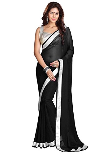 I-Brand Georgette Saree With Blouse Piece (Isunsa821_Black_Free Size)
