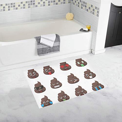 YSJXIM Biggest Set Poo Emoticons Shic Emoticons Custom Alfombra de baño Antideslizante Alfombra de baño Felpudo Alfombra de Piso para el baño 20 x 32 Pulgadas