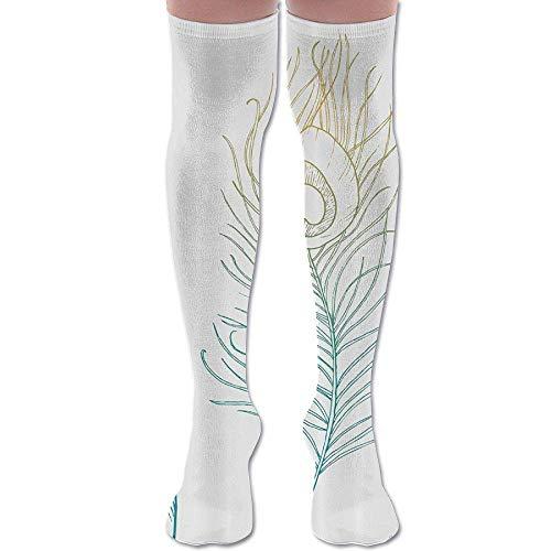 ouyjian Feather and Peacock Tail Athletic Tube Stockings Women's Men's Classics Knee High Socks Sport Long Sock -