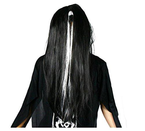 HAPPYMOOD Halloween lange Haare Perücke schreckliche Creep Perücke - gerade schwarze Theme Party Cosplay synthetische Perücke mit freien Kappe (Kostüm Party Themes Zu Weihnachten)