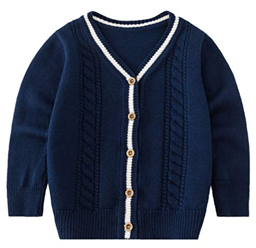DEMU Kinder Jungen Strickjacke Cardigan Strickjacke Strickpullover Warm Mantel Tops Blau Kinderhöhe 110cm