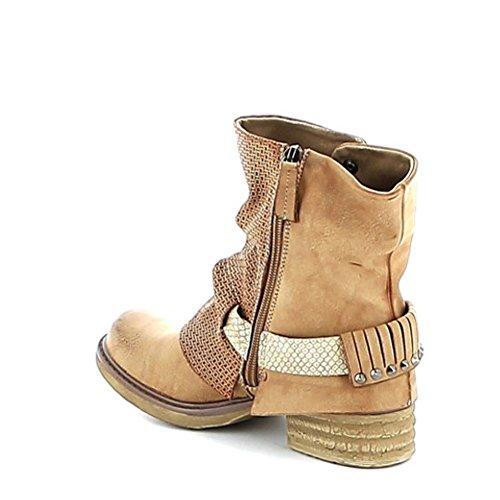 "Boots ""destroyed"" texturée Camel"