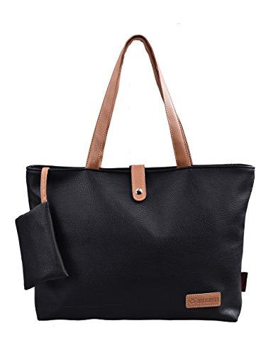 Douguyan Fashion Kunstleder Groß Einkaufstasche Uni Shopper Tote Tasche Jungen Damen Handtasche Schultertasche Reisetasche E00251 Schwarz (Leder Schwarz Handtasche Uni)