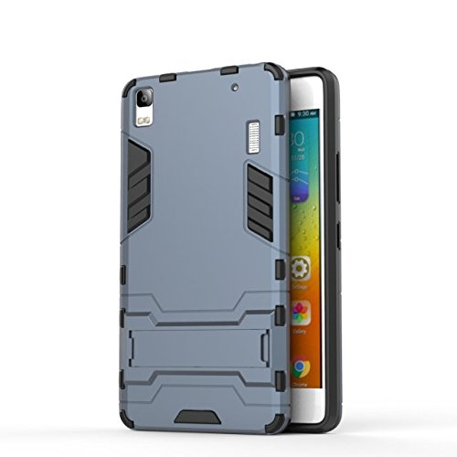 YHUISEN Lenovo A7000 Case, 2 In 1 Iron Armour Tough Style Hybrid Dual Layer Armor Defender PC + TPU Schutzhülle mit Stand Shockproof Case für Lenovo A7000 ( Color : Gray ) Blue Black