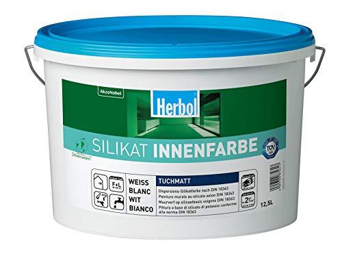 Herbol Silikatfarbe Silikat Innenfarbe Wandfarbe innen weiß, 12.5 L