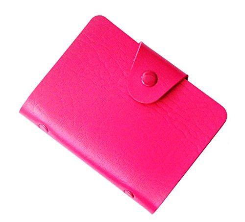 Porte-Cartes (visite, crédit, fidélité) Fermeture par Bouton Pression - Contenance : 24 cartes - Rose Rouge