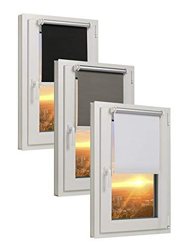 TEXMAXX - Reflect - Verdunklungsrollo Thermorollo Sichtschutz - 45 x 160 cm (Stoffbreite 41 cm) - Rollos für Fenster ohne Bohren inkl. Zubehör - in Grau - Silber (Vorhang Zugbänder Silber)