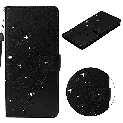 HIGHTec PU Leather Diamond Cover for Galaxy A6 Plus 2018 Flip Wallet Bling Case Book Style Stand Function Bumper Card Slots 3D Glitter Full Protection Back Shell Black for Samsung Galaxy A6+ 2018 - Fit Protector Screen Perfect