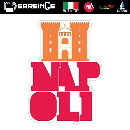 erreinge Sticker Napoli Italia Souvenir Adesivo Sagomato in PVC per Decalcomania Parete Murale Auto Moto Casco Camper Laptop - cm 35