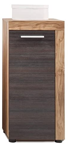 Furnline 1259-802-59 Cancun Walnut Satin Bathroom Furniture Side Cabinet,