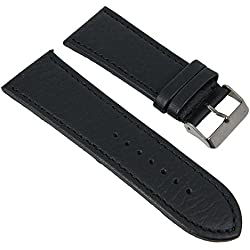 Minott watch strap width with stitching genuine leather black 27788, Lugs: 32 mm: Silver Clasp